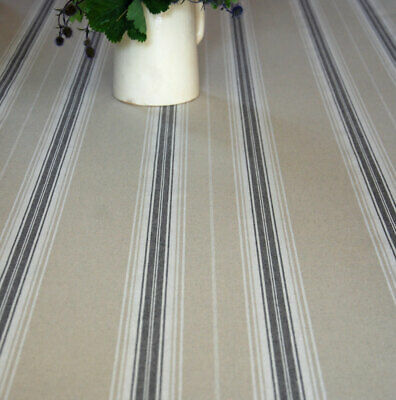 French Linen Oilcloth Vintage Blue Striped Ticking Machine Washable • 8£