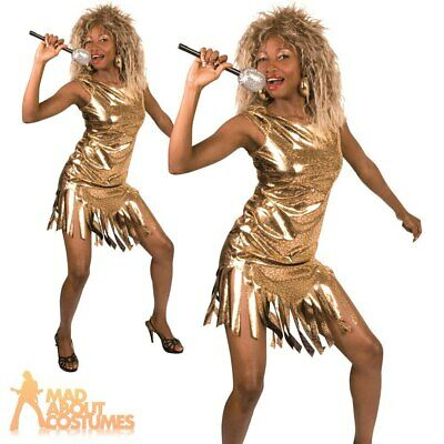 Adult Ladies Tina Turner Costume Gold Rock Queen Celebrity Fancy Dress Outfit  • 15.99£