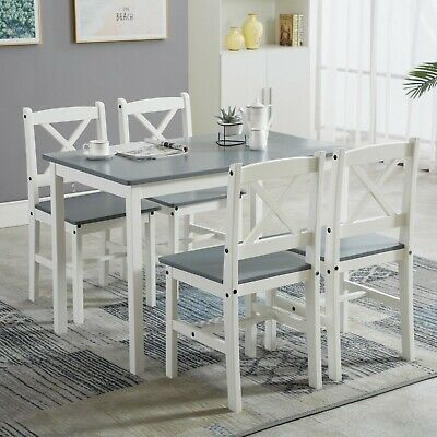 AU236.35 • Buy Classic Solid Wooden Dining Table And 4 Chairs Set Kitchen Home