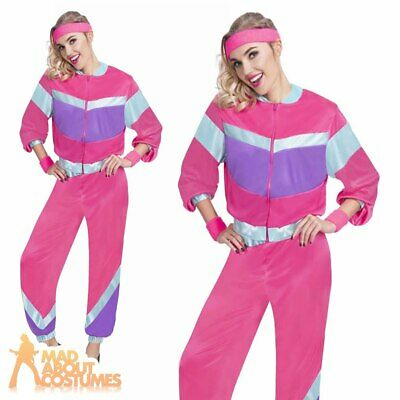 Ladies 1980s Shell Suit Costume Scouser Tracksuit Fancy Dress Outfit Hen Party  • 14.99£