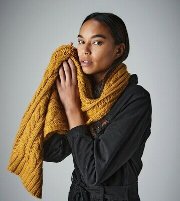 £13.45 • Buy Beechfield Cable Knit Melange Scarf Heavy Wrap Around Hand Knit Unisex (B499)