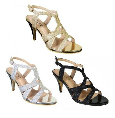 £16.99 • Buy Womens Ladies Low Kitten Heel Party Prom Strappy Court Shoes Bridal Sandals Size
