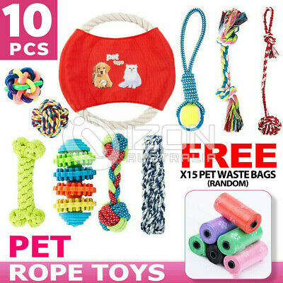 AU19.79 • Buy 10PCS Dog Rope Toys  Pet Puppy Teeth Bear Braided Tough Strong Rope Chew Bite