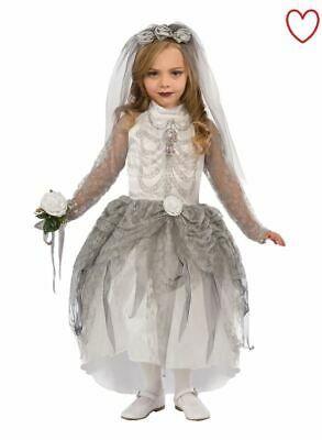 Girls Kids Dead Halloween Fancy Dress Skeleton Zombie Corpse Bride Costume Day • 13.49£