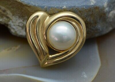 $1195 • Buy 14K Yellow Gold Mabe Pearl Heart Pendant Or Small Pearl Enhancer, 12mm Pearl