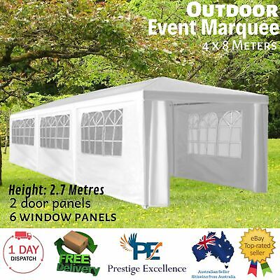 AU309.97 • Buy Wallaroo 4x8m Gazebo Party Wedding Marquee Event Tent Outdoor Canopy Shade White