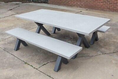AU2699 • Buy Switch - 2200mm Concrete Outdoor Table With 2 Benches - 3 Piece Setting