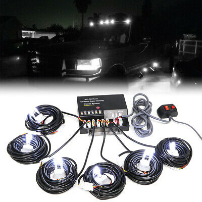 $70.99 • Buy Hide-a-way 120W 6 LED HID Bulbs White Hazard Emergency Warning Strobe Light Kit
