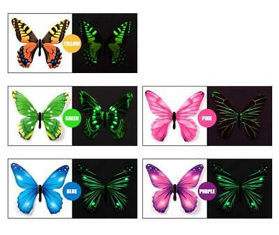 AU5.95 • Buy 12pcs Luminous Butterfly Design Decal Art Wall Stickers Room Magnetic Home Decor