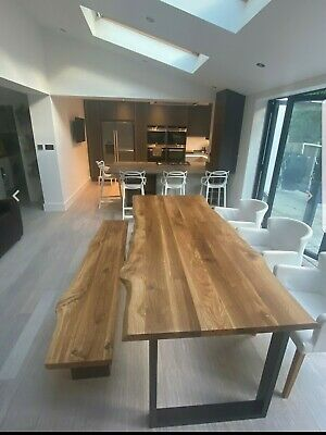 Solid Wood Oak Dining Table Bench  Live Edge Rustic Metal Legs MADE TO ORDER  • 50£