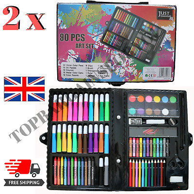 2 X 90pcs Art Set Mixed Paint Pens Pencils Oil Pastels Arts Supplies Carry Case • 15.99£