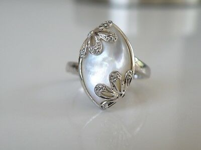 $59.99 • Buy Affinity Diamond Sterling Silver 925 Mother Of Pearl Modern Ring Size 10