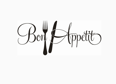 Bon Appetit Enjoy Your Meal Kitchen Wall Quotes Wall Stickers 58cm X 25cm UK 32o • 4.20£