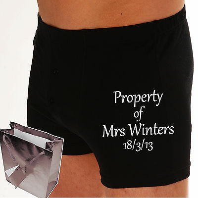 Boxer Shorts Personalised 'PROPERTY OF..?' Grooms Wedding Gift CHOOSE ANY TEXT.? • 12.99£