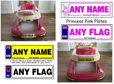 2 X Personalised Number Plate Stickers For Baby Walkers & Push Along Cars & Toys • 2.45£