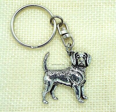 Beagle Dog Silver Pewter KEYRING In Lemon Gift Pouch • 6.95£