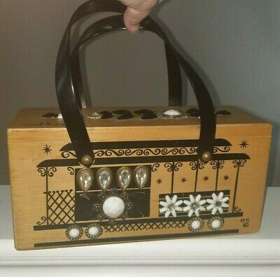 $79.99 • Buy Vintage ENID COLLINS Of Texas Jeweled Trolly CABLE CAR Wooden Box Purse Handbag!