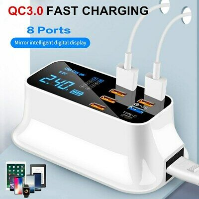 $ CDN34.09 • Buy QC 3.0 Fast Charging 8 Port USB HUB Type C Desktop Dock Station LCD Display US