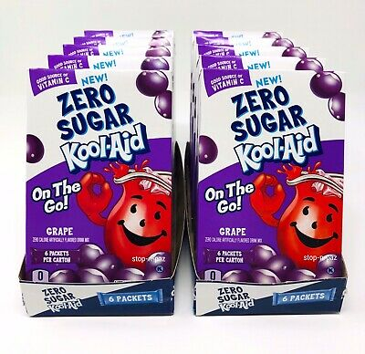 Kool Aid Grape Zero Sugar Singles To Go 10 Boxes (60 Packets) • 18.09£