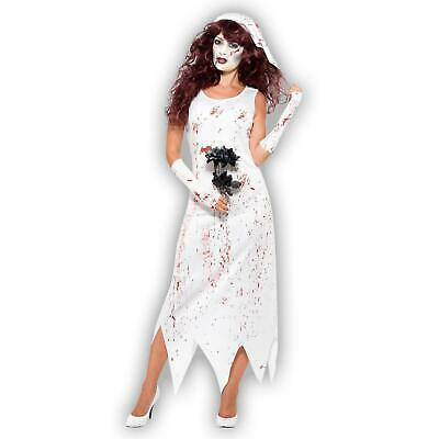£11.71 • Buy Zombie White Blood Bride Undead Bride Costume With Dress Gloves Veil Halloween
