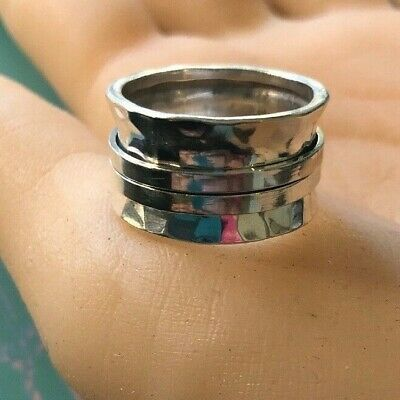 925 Sterling Silver Taxco Mexican Silver Handmade Spin Band Men Or Women Rings • 26.47£