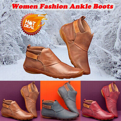 Women Vintage Winter Leather Ankle Boots Ladies Casual Flat Arch Support Shoes • 9.59£