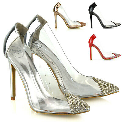 New Womens High Heel Shoes Ladies Perspex Diamante Point Toe Slip On Pumps Size • 19.99£