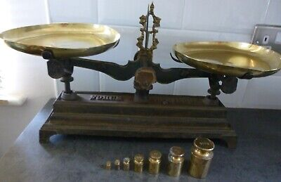 £129.99 • Buy Antique Force 5 Kilog Cast Iron Balance Scales + 2 Brass Bowls & 7 Brass Weights