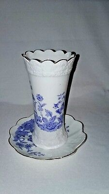 £18.09 • Buy 1990's Aynsley Cottage Blue With Butterfly Vase  AND UNDERPLATE