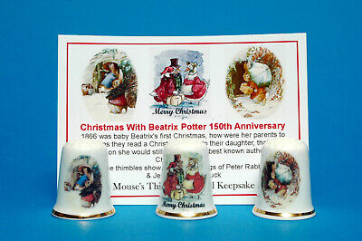 £8.99 • Buy Christmas With Beatrix Potter 150th Anni Boxed Set Of 3 Thimbles + Card B/50