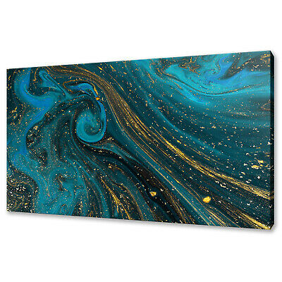 £19.99 • Buy Abstract Blue Gold Paint Texture Modern Box Canvas Print Wall Art Picture