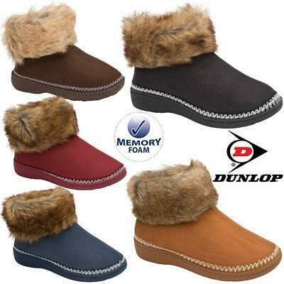 £14.95 • Buy Ladies Slippers Women Dunlop Memory Foam Fur Thermal Ankle Boots Warm Shoes Size