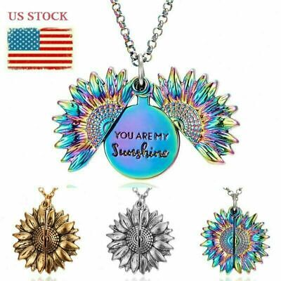 $4.99 • Buy You Are My Sunshine Engraved Open Locket Sunflower Pendant Necklace Jewelry Gift