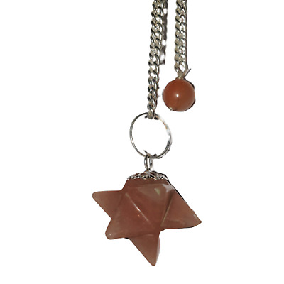 Gemstone Merkaba / Star Pendulum With Chain - Pink Aventurine - Happiness • 6.50£