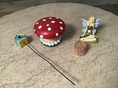 Fairy, Toadstool, Treehouse And Log Small Toys / Dollhouse Items Lot Of 4  • 6.43£