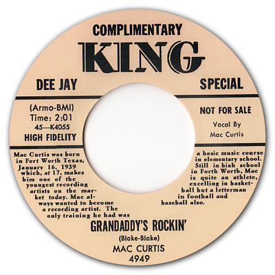 MAC CURTIS -  GRANDADDY'S ROCKIN  C/w  HALF HEARTED LOVE  - BLACK VINYL - LISTEN • 7.50£