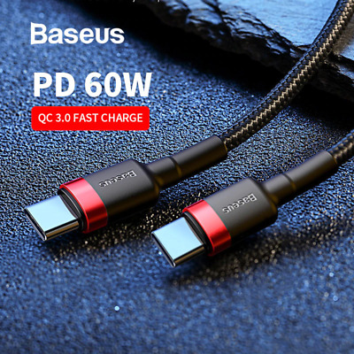 AU8.30 • Buy Baseus USB Type C To USB-C Cable QC3.0 60W PD Quick Charge Cable Fast Charging