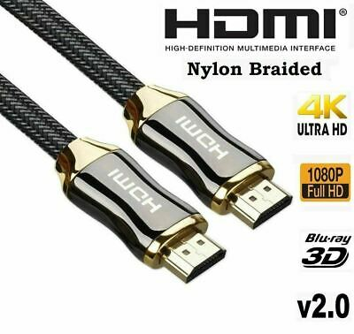 AU9.30 • Buy Premium 4k Hdmi Cable 2.0 High Speed Cord Gold Plated Braided Lead 1080p 3d Hdtv