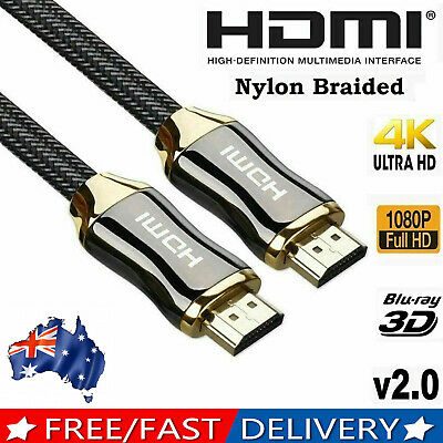 AU9.45 • Buy Premium 4k Hdmi Cable 2.0 High Speed Cord Gold Plated Braided Lead 1080p 3d Hdtv