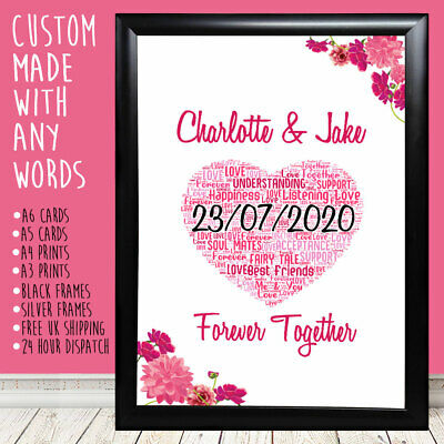 Personalised Heart Flowers Anniversary Birthday Romantic Gift For Him Her 10th • 4.99£