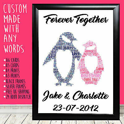 Personalised Penguins Anniversary Birthday Love Gift For Him Her 1st 5th 10th • 4.99£