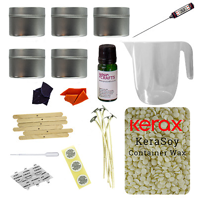 Candle Making Kit - 5 Round Tins - Soy Wax Fragrance Dyes Scents Instructions • 24.99£