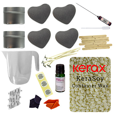 Candle Making Kit - 6 Mixed Tins - Soy Wax Fragrance Dyes Scents Instructions • 24.99£