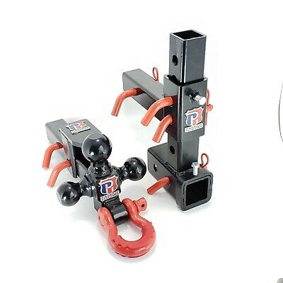 Adjustable Trailer Hitch, Triple Tri-Ball Mount Pintle Hook D-Ring, 2  Receiver • 259$
