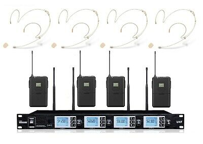 Wireless Microphone System UHF Professional Wireless Headset Mic Set 4 Headworn • 211.57£