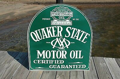 Old Style Quaker State Motor Oil Gas Tombstone 2 Sided Swinger Sign Made In Usa • 199$
