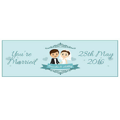2 PERSONALISED WEDDING BANNERS - YOU'RE MARRIED - 800mm X 297mm  • 3.99£