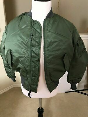 $89 • Buy USAF MA-1 Green Flight Jacket By Greenbrier Mnfg Vintage New Made In USA