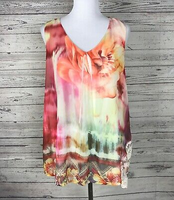 $8.54 • Buy Live And Let Live Women's Multicolor V-Neck Sleeveless Lined Top Size Medium