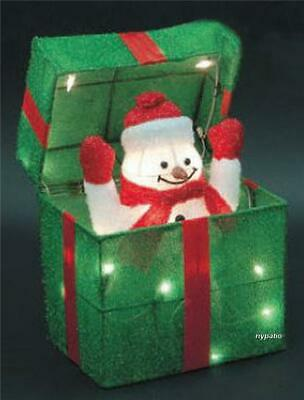 $44.99 • Buy  Animated Snowman Gift Box Lighted Tinsel Indoor/outdoor Christmas Decoration